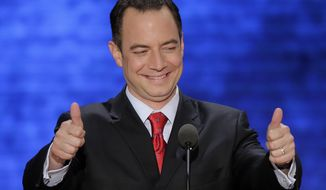 **FILE** Reince Priebus, chairman of the Republican National Committee, addresses the Republican National Convention in Tampa, Fla., on Aug. 28, 2012. (Associated Press)