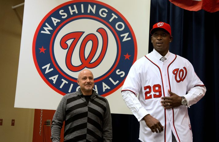 In a flurry of offseason moves after the best season in Nationals history, general manager Mike Rizzo added a new closer in Rafael Soriano, a prototypical leadoff hitter in Denard Span and a veteran starter in Dan Haren. The club also re-signed first baseman Adam LaRoche. (Associated Press)