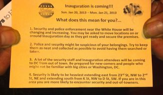 "A flier titled ""The Inauguration is Coming ... What does this mean for you?"" tells the homeless that they ""may be asked to move locations on or around Inauguration Day as they get ready and secure the premises."""