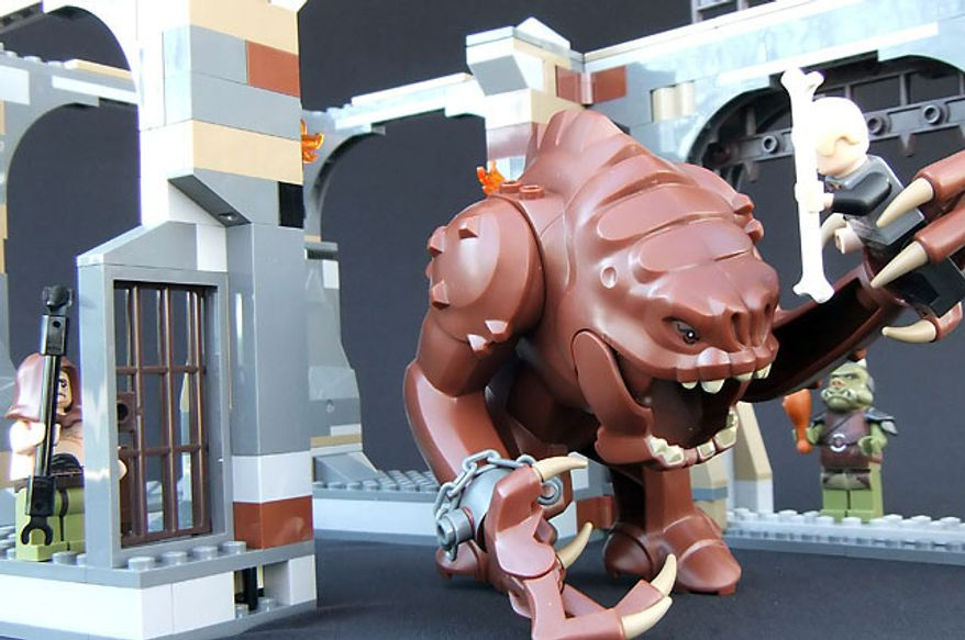 Luke Skywalker is in big trouble in the Lego Star Wars Rancor Pit set. (Photograph by Joseph Szadkowski / The Washington Times)