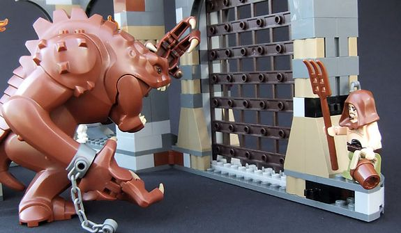 Malakili takes care of his favorite pet in the Lego Star Wars Rancor Pit set. (Photograph by Joseph Szadkowski / The Washington Times)