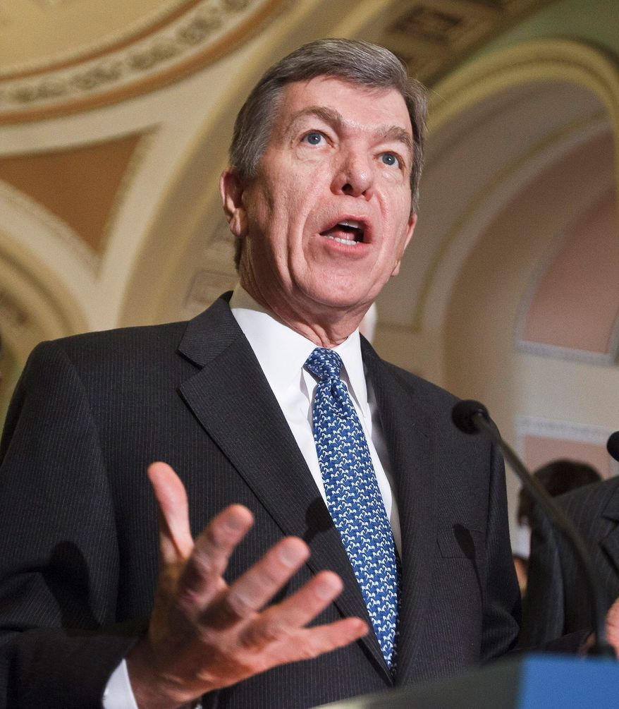 **FILE** Sen. Roy Blunt, Missouri Republican, speaks during a news conference on Capitol Hill in Washington on March 6, 2012, following a Republicans strategy session. (Associated Press)