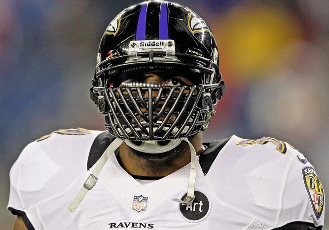 Baltimore Ravens inside linebacker Ray Lewis waits for the start of the NFL football AFC Championship football game against the New