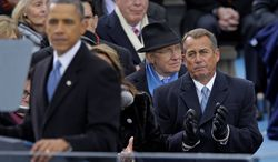 House Speaker John A. Boehner was among the dignitaries on the platform for President Obama's address. On Inauguration Day, Republicans voiced optimism. (Associated Press)