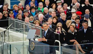 President Obama cited the beginning of the Constitution's preamble during an 18-minute speech Monday from the grand platform of the Capitol as he started his second term in office with a blueprint for national unity. (Andrew Harnik/The Washington times)