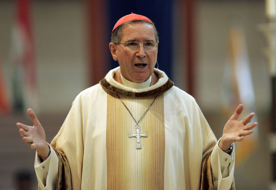 Cardinal Roger Mahony, then the archbishop of Los Angeles, speaks during an annual multiethnic migration Mass at the Cathedral of Our Lady of the Angels in Los Angeles in 2007. (AP Photo/Reed Saxon)