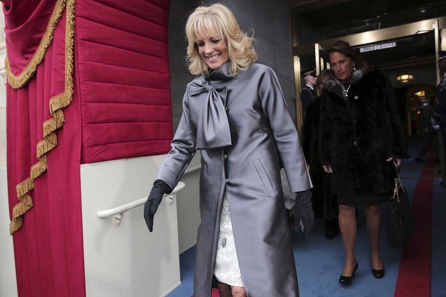 Jill Biden, wife of Vice President Joseph R. Biden, arrives at the West Front of the Capitol in Washington on Monday, Jan. 21, 2013, for the 57th Presidential Inauguration. (AP Photo/Win McNamee, Pool)