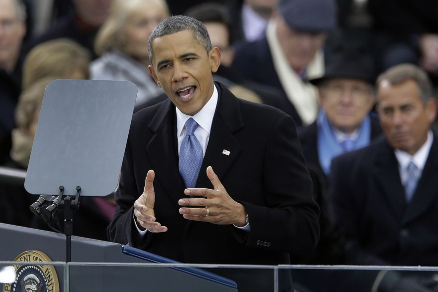 President Obama delivers his second inaugural address at the ceremonial swearing-in at the U.S. Capitol during the 57th Presidential Inauguration in Washington on Monday, Jan. 21, 2013. (AP Photo/Carolyn Kaster)