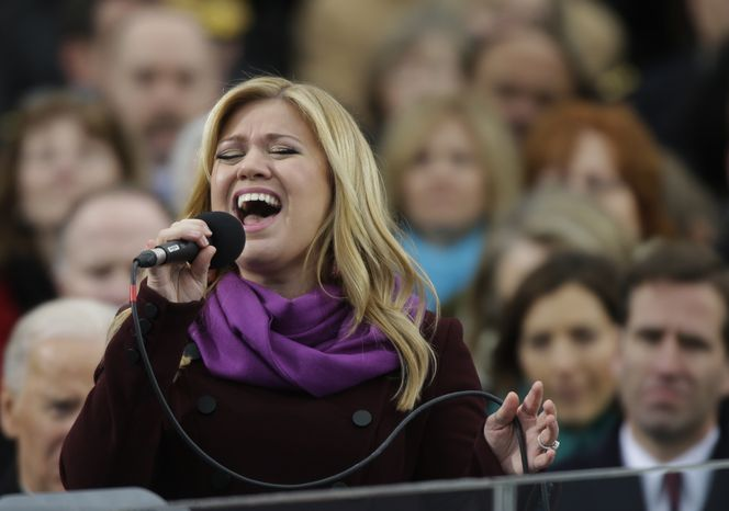 Singer Kelly Clarkson performs at the ceremonial swearing-in for President Obama at the U.S. Capitol during the 57th Presidential Inauguration in Washington on Jan. 21, 2013. (Associated Press)