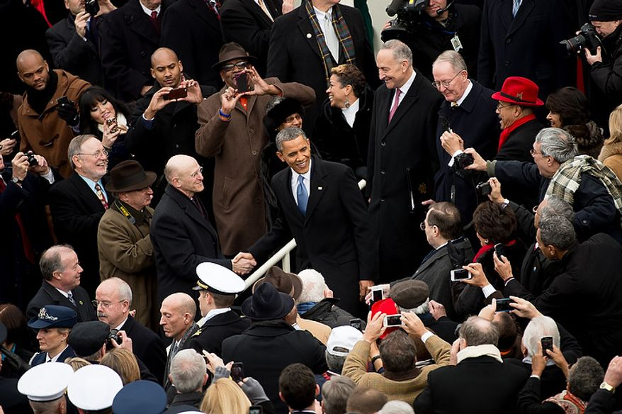 President Barack Obama arrives before being sworn in for his second term on the West Lawn of the U.S. Capitol Building at the 57th Presidential Inauguration Ceremony, Washington, D.C., Monday, January 21, 2013. (Andrew Harnik/The Washington Times)