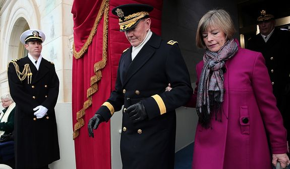 U.S. Chairman of the Joint Chiefs of Staff Gen. Martin Dempsey and wife Deanie arrive before the presidential inauguration on the West Front of the U.S. Capitol January 21, 2013 in Washington, DC.   Barack Obama was re-elected for a second term as President of the United States.  (Photo by POOL Win McNamee/Getty Images)