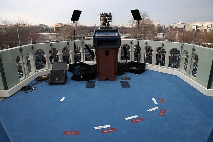 Placemarks are set for the Obama and Biden families before the presidential inauguration on the West Front of the U.S. Capitol January 21, 2013 in Washington, DC.   Barack