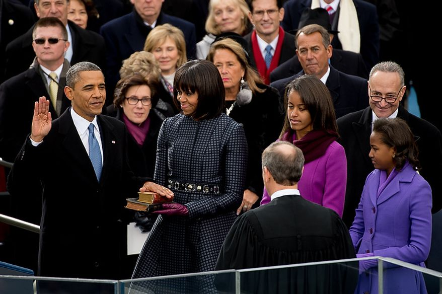 President Barack Obama is sworn in for his second term on the West Lawn of the U.S. Capitol Building at the 57th Presidential Inauguration Ceremony, Washington, D.C., Monday, January 21, 2013. (Andrew Harnik/The Washington Times)