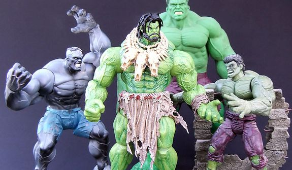 Action figure representations of his past haunt Diamond Select Toys' Barbarian Hulk. (Photograph by Joseph Szadkowski)