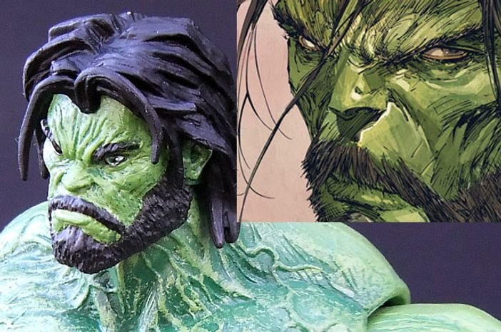 Facial features from Diamond Select Toys' Barbarian Hulk action figure compared to  artist Marc Silvestri's interpretation of the famous comic book character. (Photograph by Joseph Szadkowski / The Washington Times)