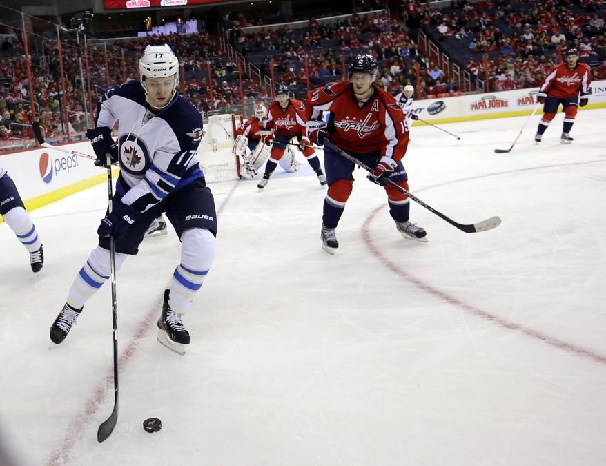 Winnipeg Jets center James Wright (17) skates with the puck as he pursued by Washington Capitals center Nicklas Backstrom (19) in the third period of an NHL hockey game on Tuesday, Jan. 22, 2013, in Washington. The Jets won 4-2. (AP Photo/Alex Brandon)