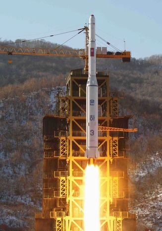 North Korea's Unha-3 rocket lifts off from the Sohae launchpad in Tongchang-ri, North Korea, on Dec. 12. The U.N. Security Council unanimously approved a resolution condemning the rocket launch, imposing new sanctions on Pyongyang's space agency. (Korean Central News Agency via Associated Press)