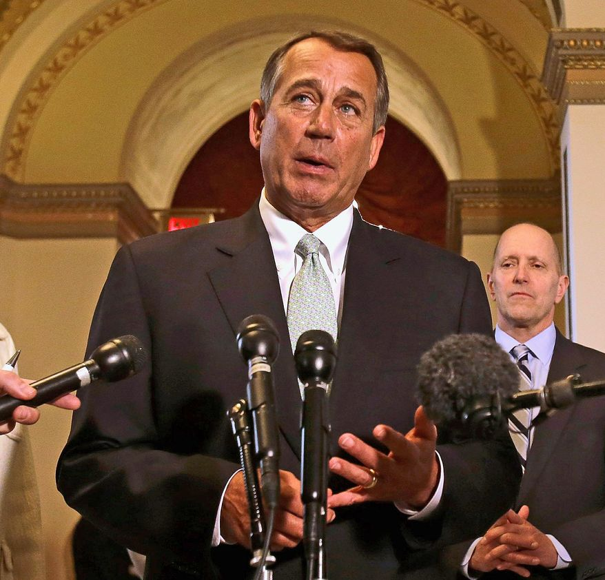 """""""We're sending a message to the Democrat-controlled Senate: It's time to do your job,"""" House Speaker John A. Boehner said Wednesday. (Associated Press)"""