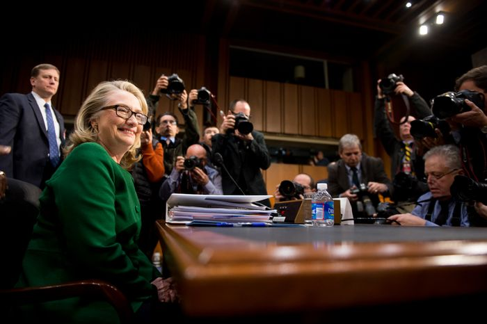 Secretary of State Hillary Rodham Clinton opts for bold green during her testimony on Capitol Hill.