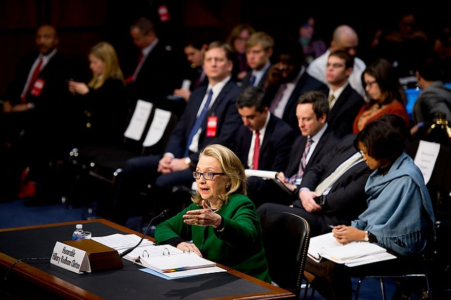 Secretary of State Hillary Rodham Clinton testifies on Capitol Hill on Wednesday, Jan. 23, 2013, before the Senate Foreign Relations Committee on the Sept. 11, 2012, attacks against the U.S. Consulate in Benghazi, Libya. (Andrew Harnik/The Washington Times)