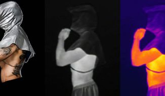 """""""I was following trends in surveillance, and I started to realize that people were now concerning themselves with drones and the repercussions of drone surveillance,"""" says Adam Harvey, whose new clothing line includes a hoodie and burqa that renders wearers less visible to infrared imaging cameras. (Adam Harvey/ahprojects.com)"""