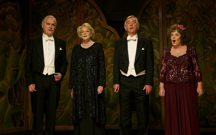 """Dustin Hoffman directed """"Quartet,"""" a lighthearted movie with a breezy plot that showcases the talents of its stars, including (from left) Billy Connolly, Maggie Smith, Tom Courtenay and Pauline Collins."""
