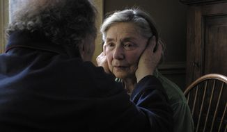 "Emmanuelle Riva, 85, has garnered critical acclaim for her role in ""Amour,"" a French-language film in which a long-married couple deals with the wife's slow descent toward death from a disease. (Sony Pictures Classics)"