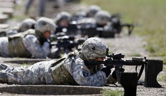 ** FILE ** Female soldiers from 1st Brigade Combat Team, 101st Airborne Division train on a firing range while testing new body armor in Fort Campbell, Ky., in preparation for their deployment to Afghanistan, Sept. 18, 2012. (AP Photo/Mark Humphrey, File)