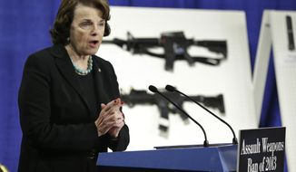 Sen. Dianne Feinstein, California Democrat, announces legislation on assault weapons and high-capacity ammunition feeding devices during a news conference on Capitol Hill in Washington on Thursday, Jan. 24, 2013. (AP Photo/Manuel Balce Ceneta)