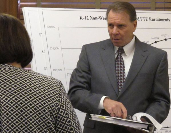 ** FILE ** Kansas Budget Director Steve Anderson prepares to brief the state House Appropriations Committee on Gov. Sam Brownback's spending plan for the state's next two fiscal years, Wednesday, Jan. 16, 2013, at the Statehouse in Topeka, Kan. (AP Photo/John Milburn)