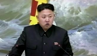 ** FILE ** North Korean leader Kim Jong-un speaks at a banquet for rocket scientists in Pyongyang, North Korea, on Friday, Dec. 21, 2012, in this image made from video. (AP Photo/KRT via AP Video)