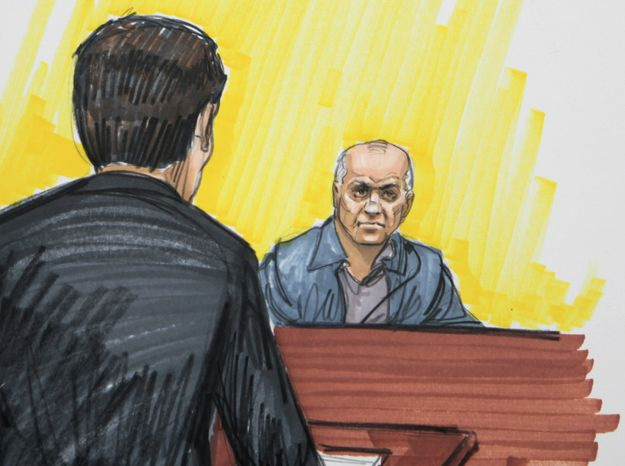 **FILE** In this courtroom sketch from May 23, 2011, David Coleman Headley is shown in federal court in Chicago. Headley was convicted of charges related to a central role he played in the 2008 terrorist attacks in Mumbai, India. (Associated Press)