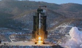 North Korea's Unha-3 rocket lifts off from the Sohae launching station in Tongchang-ri, North Korea, in this image made on Dec. 12, 2012, from video. (Associated Press/KRT via AP Video) ** FILE **