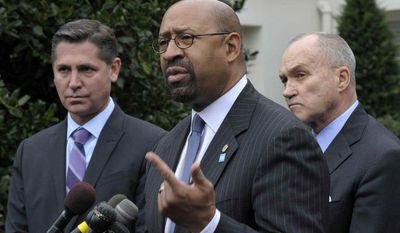 ** FILE ** Philadelphia Mayor Michael A. Nutter, center, flanked by Brady Campaign to Prevent Gun Violence President Dan Gross, left, and New York City Police Commissioner Raymond Kelly, speaks outside the White House in Washington, Wednesday, Jan. 16, 2013, following President Barack Obama's proposal to reduce gun violence. (AP Photo/Susan Walsh)