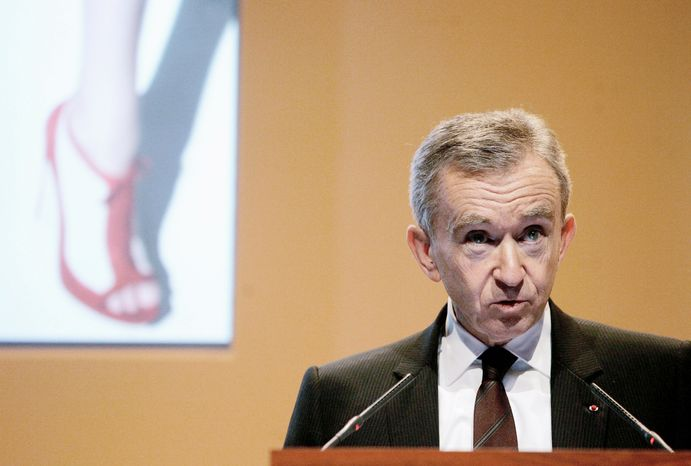**FILE** Bernard Arnault, chairman and CEO of LVMH Moet Hennessy Louis Vuitton, the Paris-based luxury goods empire, presents the group's 2008 results in Paris on Feb. 5, 2009. (Associated Press)