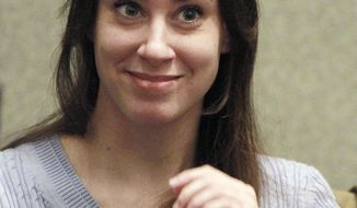 ** FILE ** Casey Anthony smiles before the start of her sentencing hearing in Orlando, Fla., on July 7, 2011. (Associated Press)