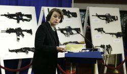 Sen. Dianne Feinstein, California Democrat, speaks during a news conference on Capitol Hill in Washington, Thursday, Jan. 24, 2013, to introduce legislation on assault weapons and high-capacity ammunition feeding devices. (AP Photo/Manuel Balce Ceneta)