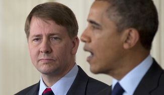 **FILE** Richard Cordray stands left as President Obama announces in the State Dining Room of the White House on Jan. 24, 2013, that he will re-nominate Cordray to lead the Consumer Financial Protection Bureau, a role that he has held for the last year under a recess appointment, and nominate Mary Joe White to lead the Security and Exchange Commission (SEC). (Associated Press