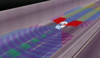 This image from June 6, 2008, provided by General Motors shows an illustration of all-around collision warning in a driverless vehicle. The possibility of driverless cars are leaving a growing number of technologists and economists to wonder what happens to the millions of people who make a living driving cars and trucks. (Associated Press)