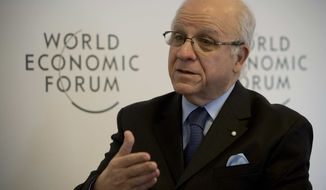 Algerian foreign minister Mourad Medelci speaks during an interview with The Associated Press at the 43rd Annual Meeting of the World Economic Forum, WEF, in Davos, Switzerland, Friday, Jan. 25, 2013. (AP Photo/Anja Niedringhaus)