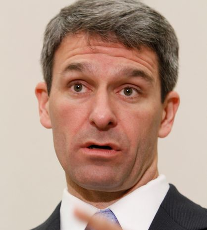 **FILE** Virginia Attorney General Ken Cuccinelli speaks during a press conference after a hearing before the 4th Circuit Court of Appeals on a chall