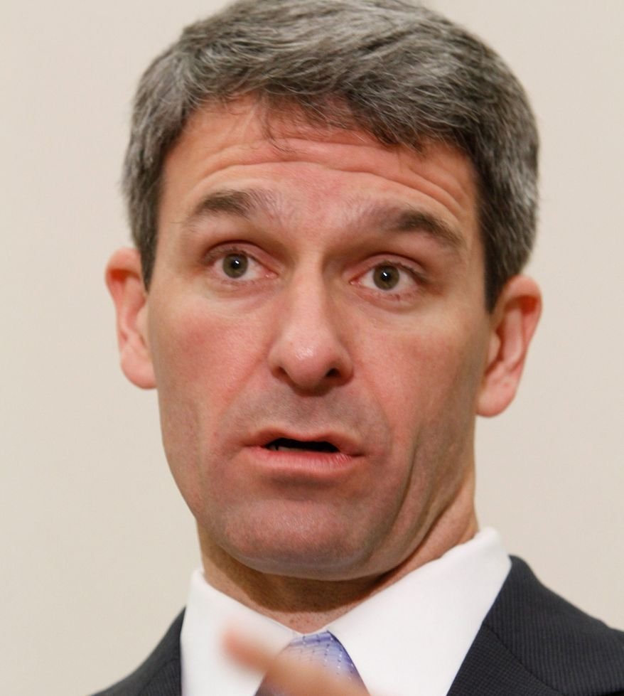 **FILE** Virginia Attorney General Ken Cuccinelli speaks during a press conference after a hearing before the 4th Circuit Court of Appeals on a challenge to the federal health care reform act in Richmond, Va., on May 10, 2011.  (Associated Press)