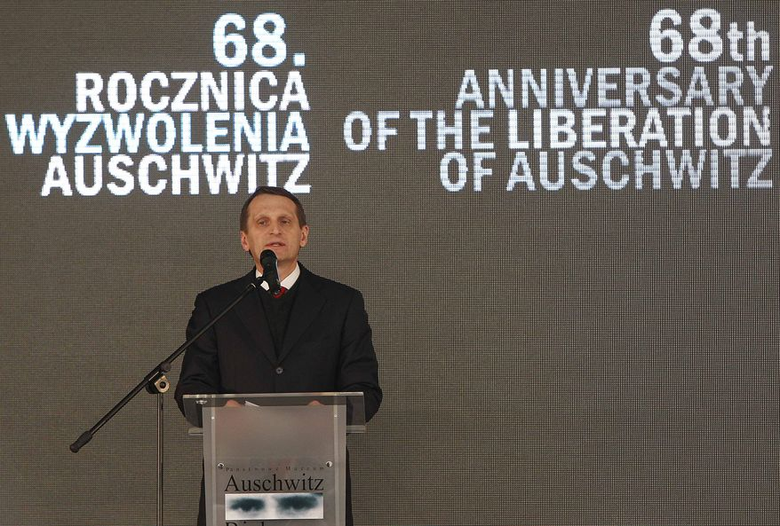 Sergey Naryshkin, speaker of the Russian Duma, attends the opening of a Russian exhibition at the Auschwitz concentration camp in Oswiecim, Poland, on Sunday, Jan. 27, 2013. In remembrance of the victims of the Holocaust, the ceremony marked the 68th anniversary of the liberation of the Auschwitz concentration camp by Russian soldiers. (AP Photo/Czarek Sokolowski)