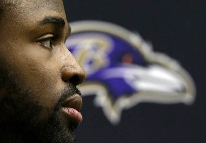 Baltimore Ravens wide receiver Torrey Smith speaks at a news conference at the team's practice facility in Owings Mills, Md., Monday, Jan. 14, 2013. The Ravens are scheduled to face the New England Patriots in the AFC Championship on Sunday. (AP Photo/Patrick Semansky)