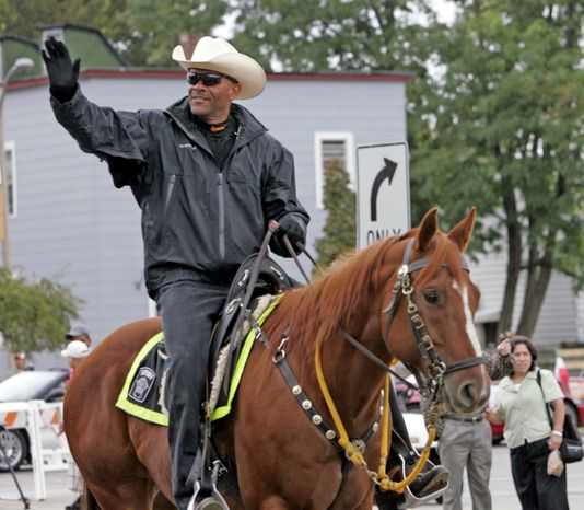 Milwaukee County, Wis., Sheriff David A. Clarke Jr. rides his horse during the Mexican Independence Day Parade in Milwaukee in 2010. (AP Photo/Milwaukee Journal Sentinel, J