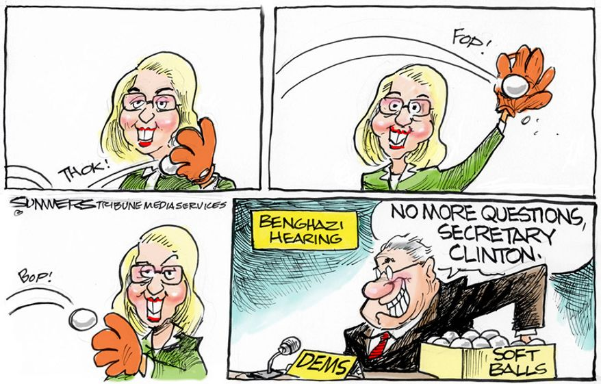 No more questions, Secretary Clinton. (Illustration by Dana Summers for the Orlando Sentinel)