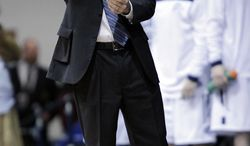 Butler coach Brad Stevens points at the basket during the first half of Butler's 64-63 win in an NCAA college basketball game against Gonzaga on Saturday, Jan. 19, 2013, in Indianapolis. (AP Photo/AJ Mast)