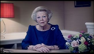 Dutch Queen Beatrix announces in a television broadcast that she will abdicate on April 30 during a speech prerecorded in The Hague on Monday, Jan. 28, 2013. Beatrix, who turns 75 on Thursday, has ruled the nation of 16 million for more than 32 years and will be succeeded by her eldest son, Crown Prince Willem-Alexander. (AP Photo/NOS Television/Peter Dejong)