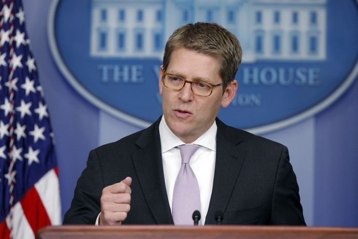 White House spokesman Jay Carney briefs reporters at the White House on Jan. 28, 2013. (Associated Press)