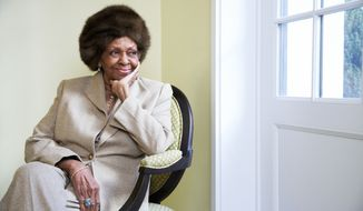 "This Jan. 22, 2013 photo shows American gospel singer and author Cissy Houston posing for a portrait in New York. Houston, mother of the late singer Whitney Houston, is releasing a book, ""Remembering Whitney,"" on Jan. 29. (Dan Hallman/Invision/AP)"
